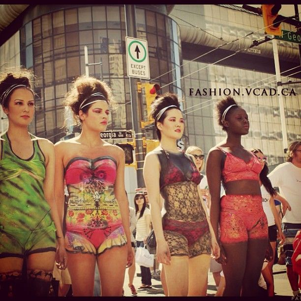 VCAD FNO fashion flash on the streets of Vancouver BC #vcad #fno #vancouver #bc #fashion #streets #flashmob #canada #models #bokini #bodyart