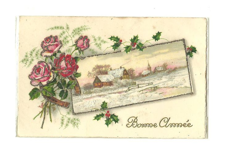 French Antique Happy New Year Postcard illustrated Mica Dust Card Flower Rose Holly Illustration Winterland Snow Landscape Village