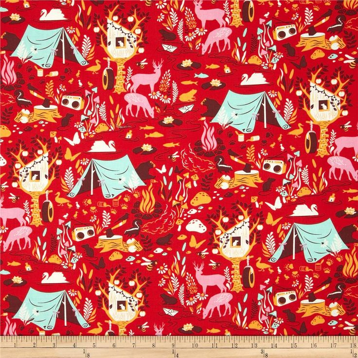 Tula Pink Moon Shine Forest Frivolity Strawberry from @fabricdotcom  Designed by Tula Pink for Free Spirit, this cotton print is perfect for quilting, apparel and home decor accents.  Colors include cream, raisin, pink, orange, aqua and red.