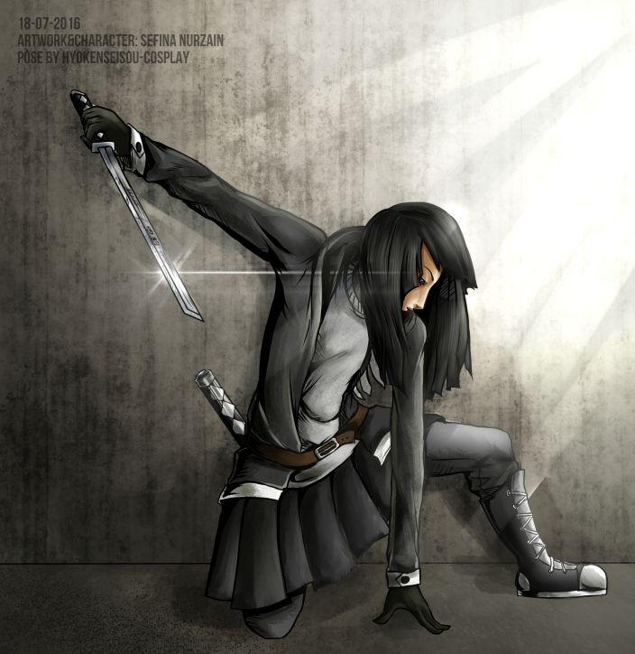 Kurosawa Himiko holding Ninjato Sword  pose by hyokenseisou-cosplay  #kurosawa #himiko #urbanherocorps #urban #hero #corps #ninjato #sword #ninja #girl #japanesegirl #badassgirl #blackskirt #black  #urbancorps
