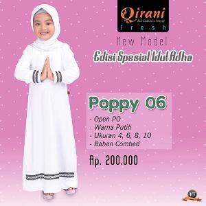 Baju Muslim Gamis Anak Qirani Poppy 06 Putih