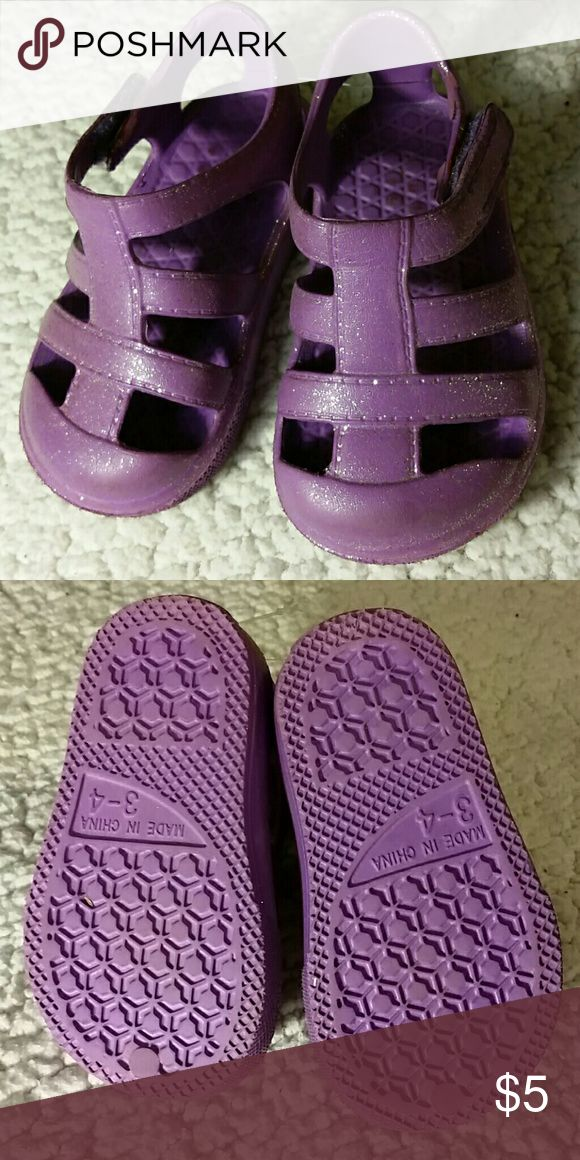 Purple Sparkly Sandals Like new, pre-loved in great condition. Soft plastic sandals,size 3-4 with velcro straps. Shoes Sandals & Flip Flops