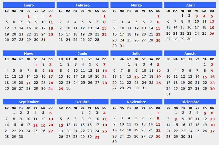 calendario de 2016 feriados en Chile para imprimir - Buscar con Google