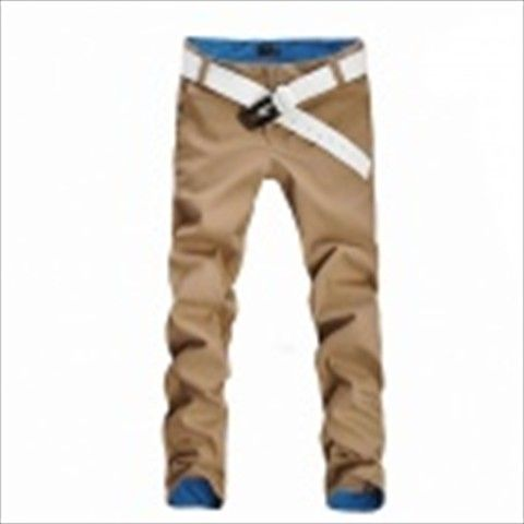 Men's Cotton Casual Pants - Khaki (XL) $34.27