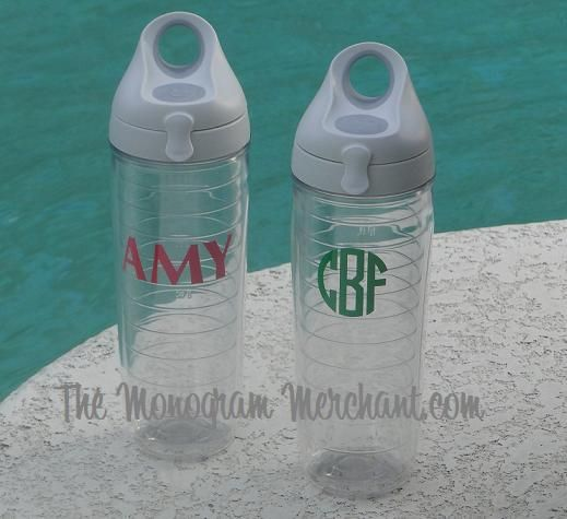 New water bottle from Tervis Tumbler!: Bottle Tops, Gifts Ideas, Gift Ideas, Monograms Mad, Monograms Heavens, Marvel Monograms, Tervis Water, Cups Sweat, Water Bottles