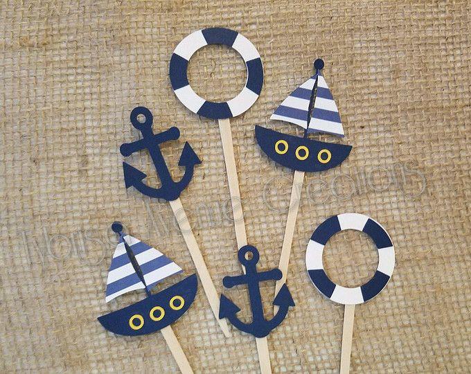 12 Nautical Cupcake Toppers - Anchor Cupcake Toppers - Sailboat Cupcake Toppers - Nautical Baby Shower Cupcake Toppers - Nautical Party