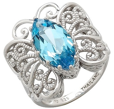 Swiss Blue Topaz Sterling Silver Butterfly Ring    #ilovetoshop