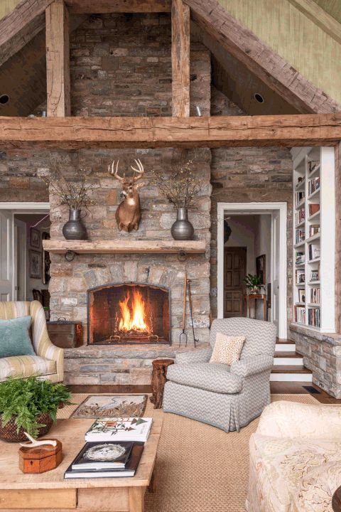 179 best images about fireplaces on pinterest for Country stone fireplace