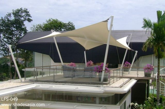 Beautiful shade structure in Phuket, Thailand created by Shades Thailand Ltd - www.shadesasia.com. Shade, awning, blind and cover products designed, manufactured and shipped worldwide