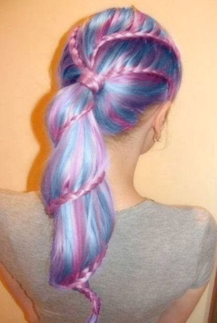pink and blue braid into ponytail: