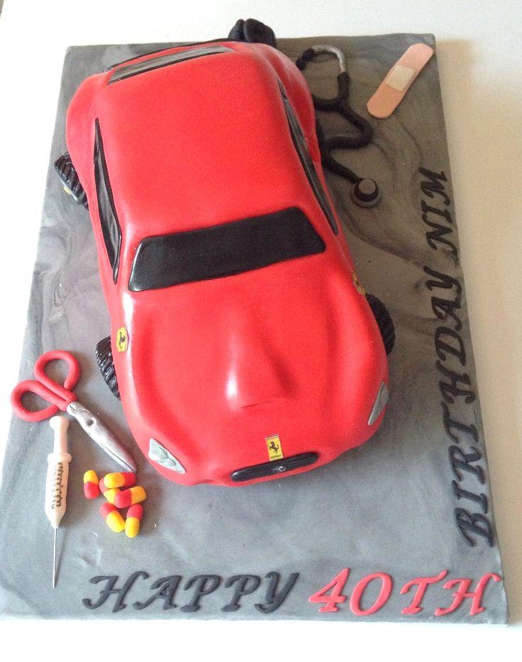 Red Ferrari cake for a doctor www.byjojo.co.uk www ...
