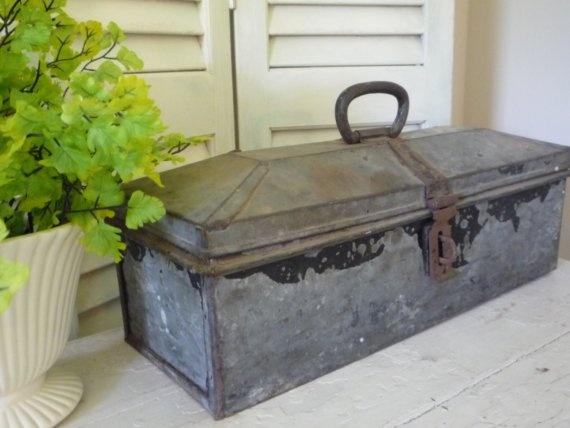 vintage metal tool box [I guess it is a tool box, unique top!]