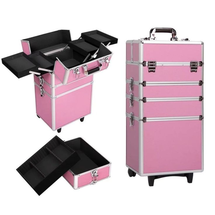 (Silver) Rolling Makeup Case (4 in 1)