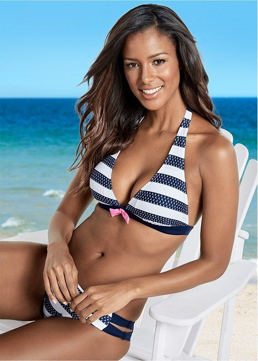 Venus Women's Plus Size Strappy Side Bikini Moderate Bikini/Swimsuit Bottoms - Blue/white , 16