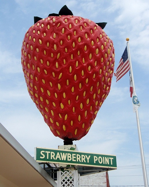 giant strawberry at Strawberry Point, Iowa