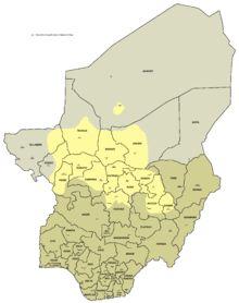 Hausa language map.//Le haoussa, hausa, ou hawsa (en haoussa : Hausanci), est une langue tchadique parlée en Afrique de l'Ouest, au Bénin, Burkina Faso, Cameroun, Côte d'Ivoire, Ghana, Niger, Nigeria, Soudan, Tchad et Togo