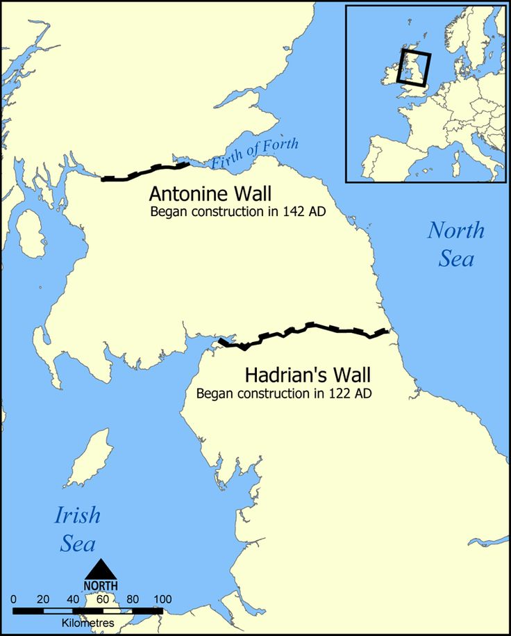 Map Showing Locations of the Antonine and Hadrian's Wall