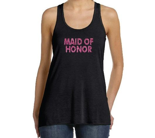 Maid of Honor Glitter Black Racerback Tank Tops by BridesmaidTank