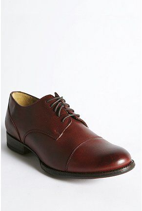 The best damn shoes I have ever owned. Leather/wood soles, comfortable, and well made. Frye Erin Oxfords.