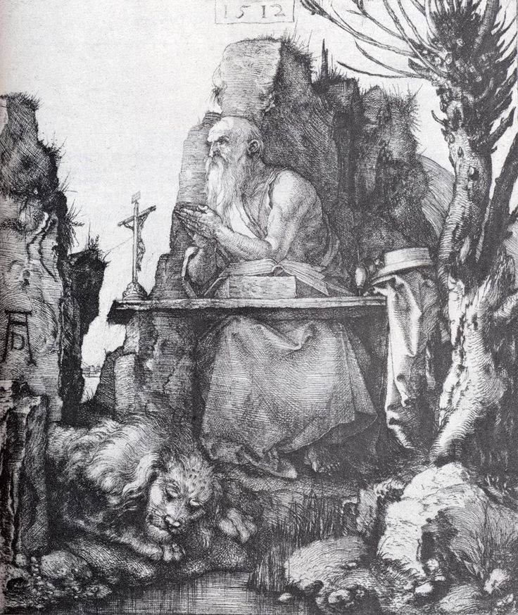"Albrecht Durer (1471-1528) -  St. Jerome By The Pollard Willow.  Drypoint,  1512, 208 x 185 cm (81.89"" x 72.83"").  Private collection"