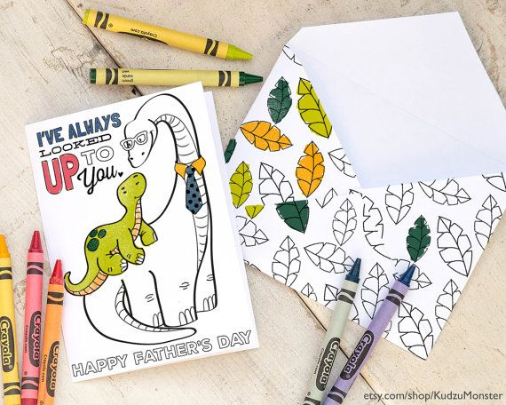 INSTANT DOWNLOAD Dinosaur Printable Fathers Day Card Coloring Page By KudzuMonster