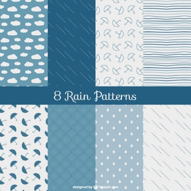 Rain patterns pack Free Vector