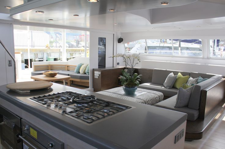 The interior of the beautiful Open Ocean 750 Sailing Catamaran. Hull and Interior Design by Du Toit Yacht Design http://www.dtyd.co.za/design_item.php?id=107&a=1