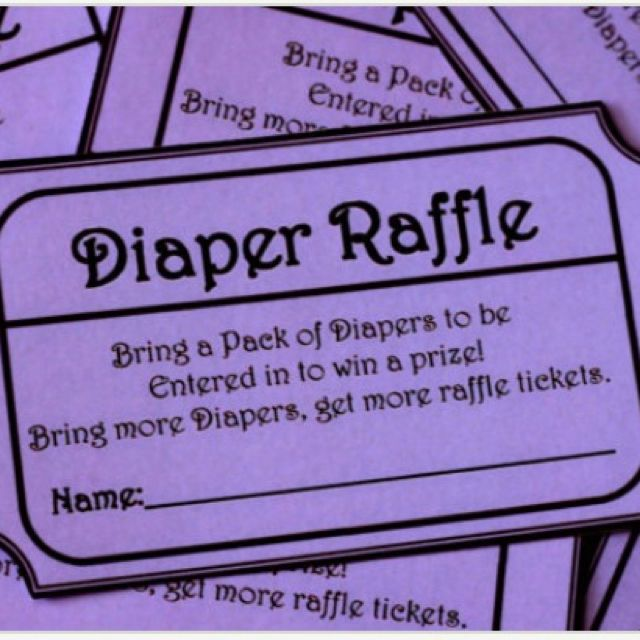 Diaper raffle ticket:  If your last name falls in A-F bring newborn, G-L bring size 1, M-R bring size 2 and S-Z bring size 3.