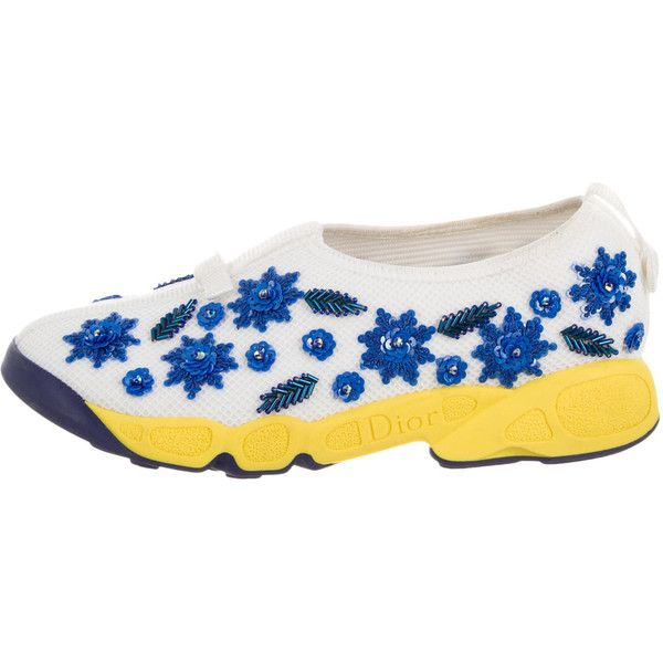 Pre-owned Christian Dior 2016 Fusion Embellished Sneakers ($695) ❤ liked on Polyvore featuring shoes, sneakers, blue, embellished sneakers, mesh sneakers, decorating shoes, christian dior sneakers and round toe sneakers