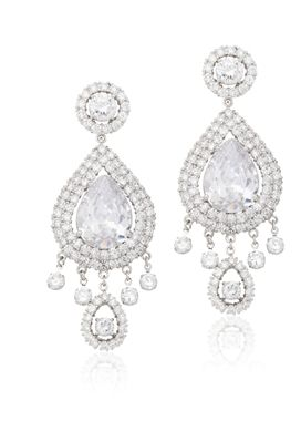 Pear and round simulated diamonds, featured here in approximately 19.0 carats, on a prong and pave sterling silver 925 setting with ear post and friction back.
