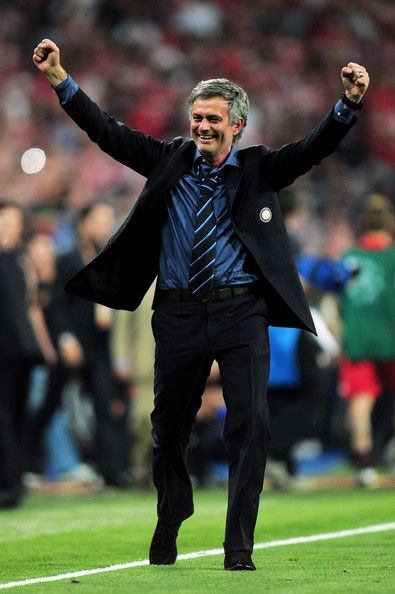 Jose Mourinho Photos Photos - Head coach Jose Mourinho of Inter Milan celebrates his team's victory at the end of the UEFA Champions League Final match between FC Bayern Muenchen and Inter Milan at the Estadio Santiago Bernabeu on May 22, 2010 in Madrid, Spain. - Bayern Muenchen v Inter Milan - UEFA Champions League Final