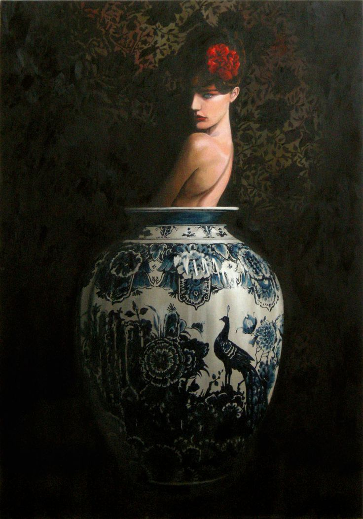 Jan Wisse, 2013, Vase S1  Oil on marouflé, 122x84cm from the 2nd 'Vase-series'. stock: Smelik & Stokking Galleries, The Hague