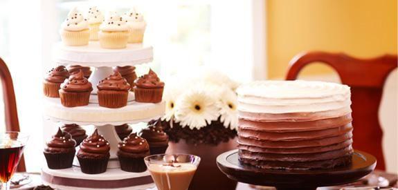 Ombre Birthday Cake & Cupcakes