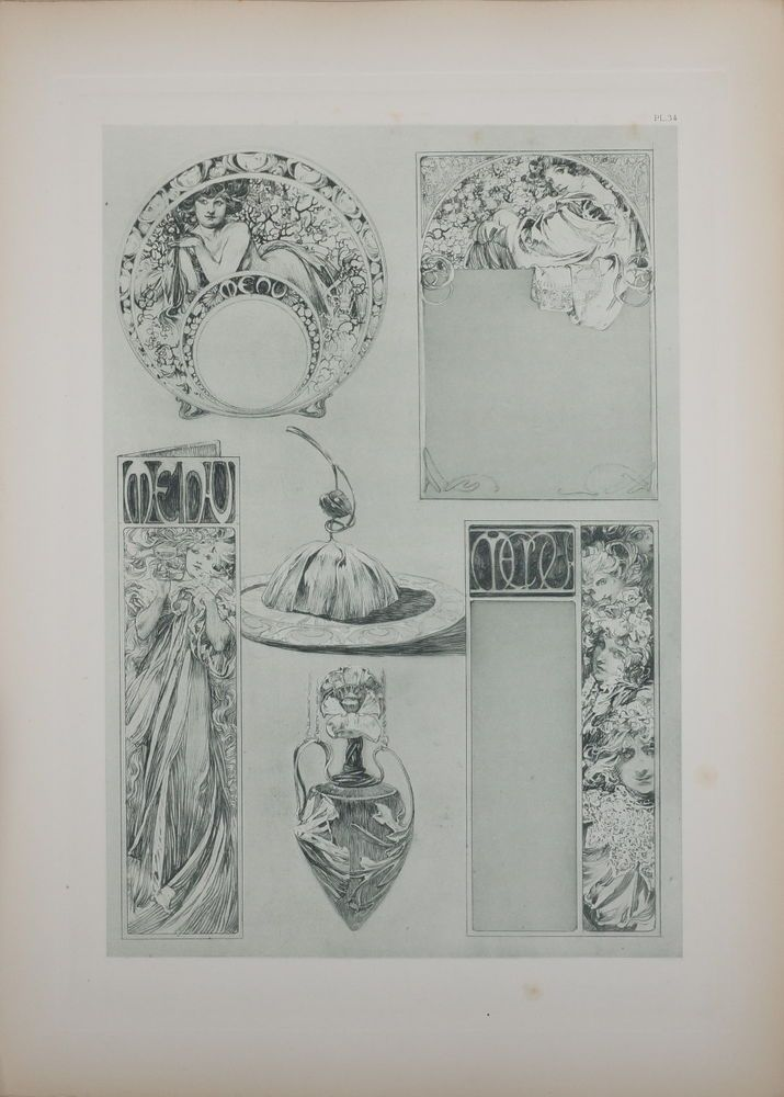 ALPHONSE MUCHA DOCUMENTS DÉCORATIFS ORIGINAL LITHOGRAPH 1902 ART NOUVEAU PL 34 #ArtNouveau