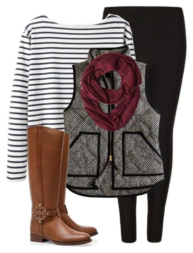 """J. Crew Vest"" by carolinejones864 ❤ liked on Polyvore featuring AllSaints, Wood Wood, J.Crew and Tory Burch"