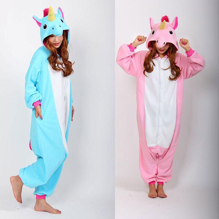 Einhorn Onesie Rosa Blau Schlafanzüge Overalls Strampler Erwachsene Tier Sleepsuit Pyjamas Kostüm Cosplay