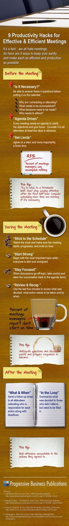 #INFOGRAPHIC: Why #meetings stink — and how to make 'em better. Efficient & Effective Meetings Infographic from Progressive Business Publications