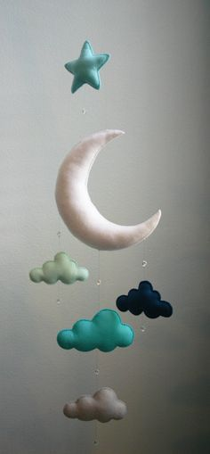 Modern Baby – Mint, Navy, Gray, Moon Felt Mobile with Clouds, Star & Crystal Beads – Handmade – Made To Order – Nursery Decor – Choose Color
