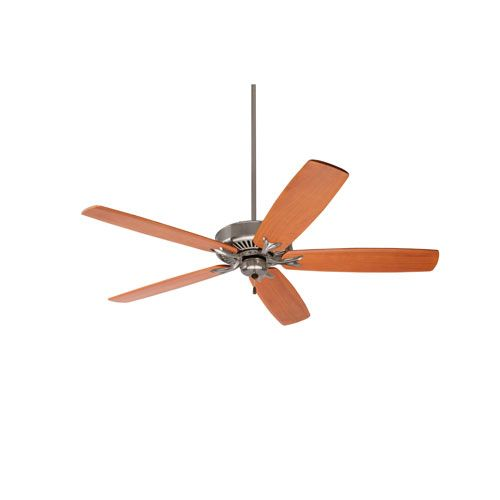 Premium Select Brushed Steel 60-Inch Ceiling Fan with Natural Cherry Solid Wood Blades