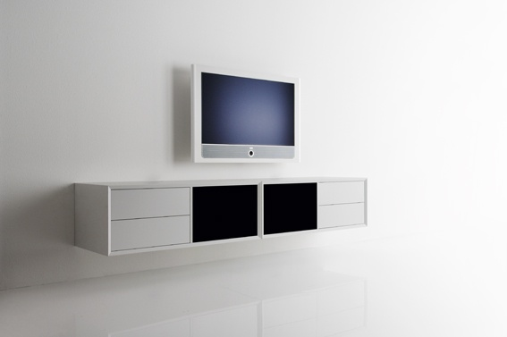 2 x model 221-2 in white paint with 2 black fabric doors and 4 white paint drawers
