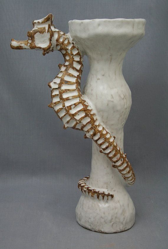 Ceramic Seahorse Candlestick by Shayne Greco Beautiful White Glazed Mediterranean Sculpture Pottery