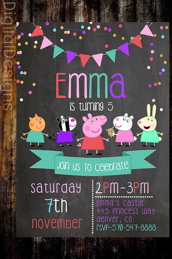Peppa Pig Birthday Invite Peppa Pig Chalkboard por DigitalDesigns3