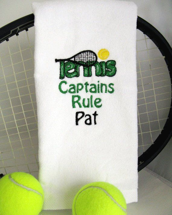 Tennis Captain Gift Tennis Captain Towel Tennis Towel Captains Rule In Green 077 Therulesoftennis Tennis Gifts Tennis Pictures Play Tennis