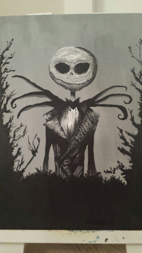 Jack - Nightmare before Christmas. Disegno su tela tempera