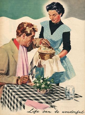 Magazine illustration, 1954, English School, (20th century) Private Collection / The Advertising Archives / Bridgeman