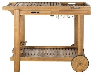 Backyard barbecue chefs will appreciate the carefree luxury of a portable serving cart like the portable Orland tea trolley. Crafted of eco-friendly acacia