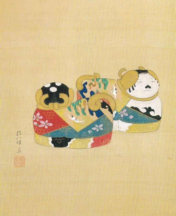 酒井抱一 Sakai Hoitsu 犬筥図 部分 Dog-shaped boxes