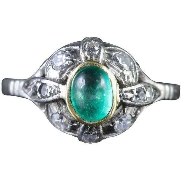 Preowned Antique Art Deco Emerald Diamond Platinum Ring, Circa 1920 ($3,076) ❤ liked on Polyvore featuring jewelry, rings, engagement rings, green, art deco engagement rings, pre owned diamond rings, antique engagement rings, green diamond ring and diamond rings
