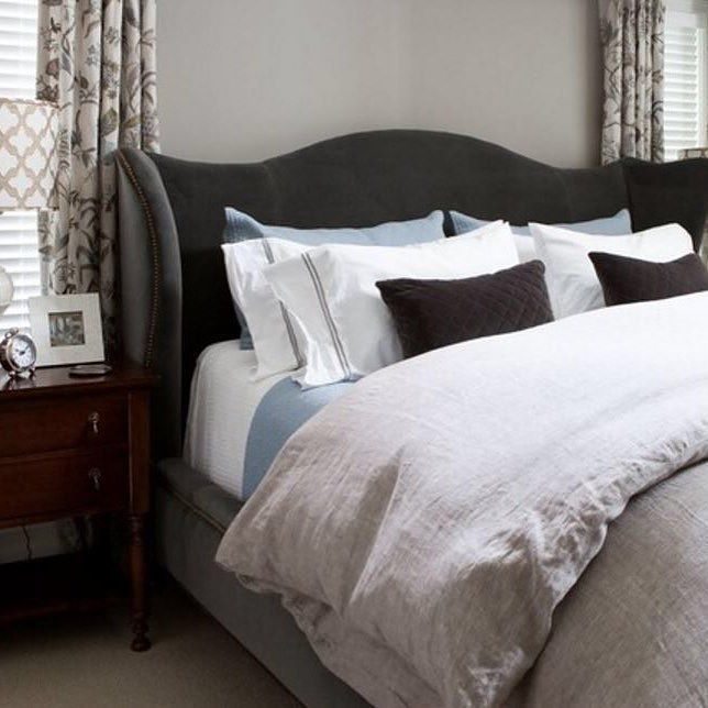 Transitional master bedroom photo in Baltimore with gray walls Mood master dark charcoal headboard with accent color linen duvet cover. Credit @ElizabethReich    Double tab for more images.  #fortheloveoflinen #linen #bedlinen #tellmemore #interior4all #linenbedding #pureline #purelinenutrition #interiordecor #bedroomdecor #bedroominspiration #handmade #handmadebedding  #tailoredmade #instadaily #masterbedroom #graywall #charcoalheadboard-By SuperiorCustomLinens.com