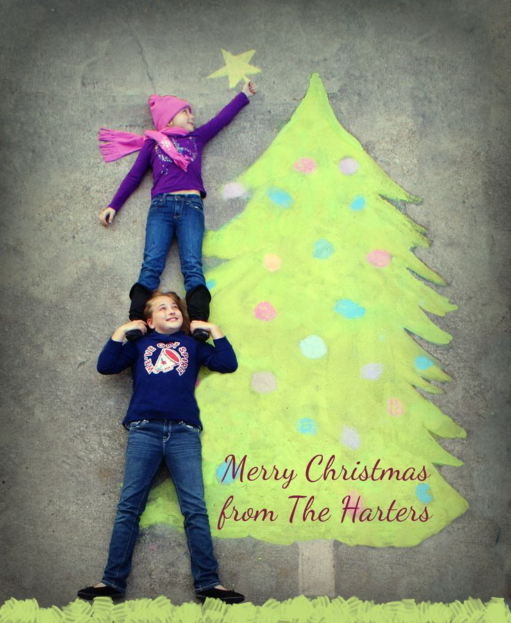 photo sidewalk chalk art - christmas card